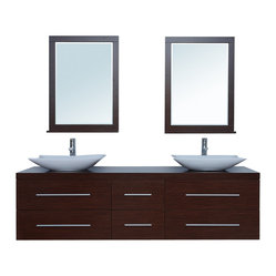 "Stufurhome - 72"" Calliope Double Sink Vanity - Includes quality aluminum drawer hardware"