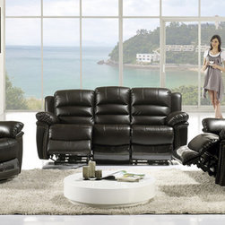 Modern Chocolate Leather Dual Reclining Sofa Set Loveseat Recliner - Features