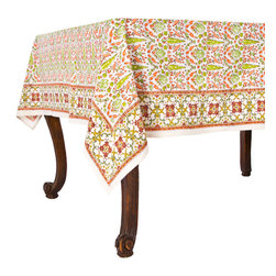 Origin Crafts - Aviary coral tablecloth - Aviary Coral Tablecloth Our new Aviary pattern is whimsical and fresh. Hand block printed in shades of coral and lichen green; a nice addition to any dinner party. 100% Cotton, block printed. Machine wash, tumble dry low, warm iron as needed. Made in India. Dimensions (in): Square - 55x55 - Seats