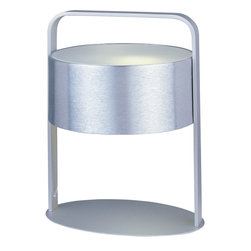 ET2 Lighting - Piccolo 1-Light Table Lamp - Drum up some excitement in your decor. This cylindrical table lamp boasts a brushed aluminum finish to make a subtle shine statement.
