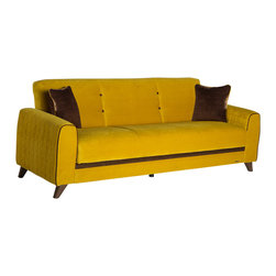 Istikbal - Fabio Lilyum Yellow Sofa Sleeper - Luxurious look and meticulous attention to details will work wonders on any room! The Fabio features a luxurious look with rich espresso-colored legs, leatherette front panel and rolled arms. It includes superior frame construction with practically effortless operating mechanism. Contemporary upholstery comes with exclusive tailoring and fine detailing. Complete your living space with this lavish Fabio Lilyum Yellow Sofa Sleeper.