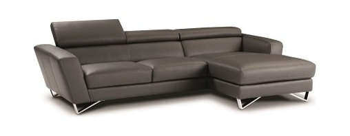 JNM Furniture - Sparta MINI Italian Leather Sectional in Gray, Right Facing Chaise - The best selling Sparta Modern Italian Leather sectional is now available in a new smaller design! The Sparta mini is a fashionable, modern, and available in dark gray Italian leather. Seats and backs have high density foam to give you extra comfort and support. This stunning sectional features stainless steel legs and adjustable headrests.