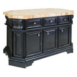 Hardware Resources - Acanthus Jeffrey Alexander Island  57-11/16 x 33-15/16 x 3 Distressed Black - This 57 11/16 x 33 15/16 x 34 1/8 furniture style island is manufactured using the highest furniture grade hardwoods and MDF. The island features three working drawers and cabinets on one side and three false drawers above additional cabinet storage and a removable wine rack on the reverse side. Each cabinet contains an adjustable shelf. The drawers are dovetailed solid hardwood and are mounted on full extension soft close undermount slides. The included decorative hardware can be found in Jeffrey Alexander Regency collection (1099). Distressed Black finish is applied by hand. 2 3/8 hard maple end grain butcher block top sold separately (ISL06 TOP  58 3/8 x 35).