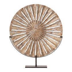 Holden Small Carved Wood Sculpture/Iron Stand - Mingling the drama of impossible-to-miss shape with the soft natural appeal of wood tones, the Holden Sculpture in Carved Wood creates a celestial element or an industrial one, a natural crowning piece for a vignette or a perfect disk to fill the space of an architectural alcove. Rich texture is easily blended with your home decor theme, evolving beautifully in transitional surroundings.
