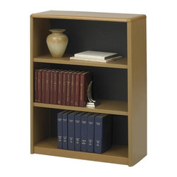 Safco - Value Mate Steel Bookcase w 3 Shelves in Medium Oak - Enhanced by three shelves for versatile storage, this durable bookcase will be a smart choice for any office decor. Sized for three ring binders, the bookcase is ideal for document and records storage and is made of steel with a fiberboard backing in medium oak powder coat finish. Accommodate 3-ring binders and large publications. Generous 12 in. deep shelves. 24 ga. material thickness. Adjustable shelf with 1 in. increment. Shelf capacity 70 lbs.. Back is made of solid fiberboard. Made from steel. Powder coat finish. 31.75 in. W x 13.5 in. D x 41 in. H (30 lbs.). Assembly InstructionEconomical, sturdy and strong with the ValueMate Bookcases you can't go wrong! Exquisitely showcase photographs, keepsakes, literature and resources - and these shelves are perfect for larger publications and 3-ring binders! Make it functional or fun for your executive office, conference room, meeting areas, reception areas, waiting room, library, media center, sales offices and even your home office. These beautifully designed bookcases add the little extra that your workspace needs.