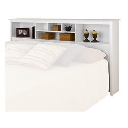 Prepac - Prepac Monterey White King Bookcase Headboard - Prepac - Headboards - WSH8445 - The versatile Monterey Bookcase Headboard features three compartments which provide ample space for bedside reading material alarm clocks and other necessities. Contemporary in design and style it will be the perfect addition to a bedroom with a country casual or transitional decor.