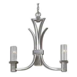Uttermost - Uttermost Glacio 2 plus 1 Light Kitchen Island Fixture - Low Voltage Collection Featuring Heavy Slabs of Seeded Crystal, Held in Arching Arms of Sleek Brushed Nickel Plated Metal.