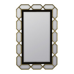 """Cooper Classics - Margate Aged White Square Mirror - Update a room's motif with the striking aras mirror.  This black and gold finished beveled wall mirror will make a perfect addition to your home. Frame Dimensions: 25.5""""W X 40""""H; Mirror Dimensions: 16.25""""W X 31""""H; Finish: Black and Gold; Material: Metal; Beveled: Yes; Shape: Rectangular; Weight: 23 lbs; Included: Brackets, Ready to Hang Vertically or Horizontally"""