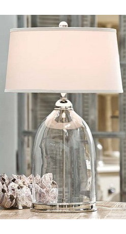 Gorgeous Glass Table Lamps - Sea-worthy silver and off white shades for a cozy cottage feel.