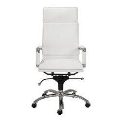 Eurostyle - Gunar Pro High Back Office Chair-White/Chrome - Leatherette seat, back and armrests
