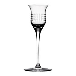 "Bomma - 1.35 oz Dots Collection Crystal Liqueur Glass - Set of 2 - Set of 2 - The Dots 1.35 oz. liqueur glass lets you simultaneously appreciate fine design and fine brandy. The Dots collection was created as a drinking set with a technologically simple and logical space for decorating. In the middle of the drinking vessel, designer Olgoj Chorchoj placed a cylindrical body to serve as the ideal gallery for ornamental decor. Combined with Bomma's motto of ""technology through an ornament"", Chorchoj applied a number of elementary dot and dash machine interventions."