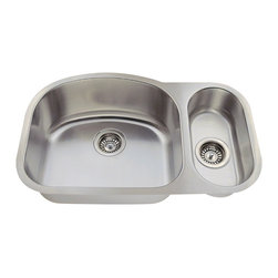 """MR Direct - Offset Stainless Steel Kitchen Sink - The 529L offset double bowl undermount sink is constructed from 304 grade stainless steel and is available in 18 gauge thickness. The surface has a brushed satin finish to help mask small scratches that occur over time and keep your sink looking beautiful for years. The overall dimensions of the 529L are  and a 30"""" minimum cabinet size is required. This sink contains a 3 1/2"""" offset drain, is fully insulated and comes with sound dampening pads. As always, our stainless steel sinks are covered under a limited lifetime warranty for as long as you own the sink."""