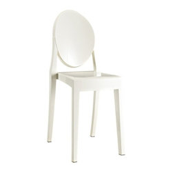 Ariel - Victoria Style Ghost Dining Chair White Color - Perfect for the indoor bar or the outdoor BBQ by the poolside, the Victoria Style Ghost Dining Chair coordinates with any indoor or outdoor color scheme. Made from aesthetically pleasing  transparent polycarbonate construction, the ghost chair is more solid and more rigid than regular polypropylene chairs. Also features non-marking feet that help protect sensitive floors.
