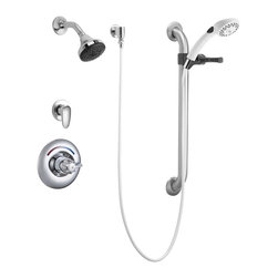 """Delta Faucet Company - Delta T13H333 Shower Valve Trim with 1.5GPM Single Function Showerhead - Delta T13H333 Shower Valve Trim with 1.5GPM Single Function Showerhead Personal Hand Shower 24"""" Grab/Slide Bar and Metal Blade Handles, Single Handle, Chrome"""