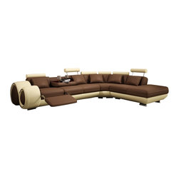 VIG Furniture - Malibu - Modern Leather Sectional Sofa with Recliner - Based off the popular Walden Sectional Sofa with Recliners, this slightly modified version features 1 recliner at the end of the sectional for the ultimate relaxed feel. Also features a pull down back rest that has 2 cup holders and a tray and 5 adjustable headrests. Price reflects bonded leather upholstery, and option to upgrade to genuine leather available. This sofa may also be ordered in different colors and may take anywhere from 6-8 weeks for this special order to arrive at your home.