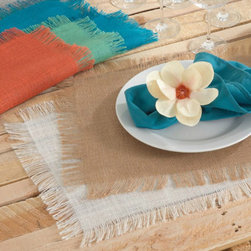 Fringed Jute Runners - These fringed burlap table runners are new at Iron Accents and will make for the perfect place setting at a beach/island theme event or in a beautiful home on the water. They come in three lengths to keep pace with the passing tray of pina coladas and a variety of island inspired colors including ivory, natural, sea green, tangerine and turquoise.