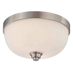 Nuvo Lighting - Nuvo Lighting 60/4192 Helium Two Light Flush Dome Ceiling Fixture with Satin Whi - Nuvo Lighting 60/4192 Helium Two Light Flush Dome Ceiling Fixture with Satin White Glass, in Brushed Nickel FinishThis collection's lighter than air appearance creates the illusion that Helium's glass shades are floating above the fixture's frame. Strong, yet open and airy, Helium is the right match for many contemporary home designs. This collection is offered in Vintage Bronze with Cream Beige glass shades and Brushed Nickel with Satin White glass shades.Nuvo Lighting 60/4192 Features: