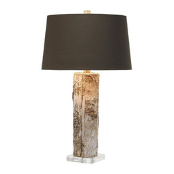 Bark Table Lamp - Nothing says rustic quite like bark. And yet, with a sharp black shade, this table lamp ends up looking surprisingly sophisticated, no?