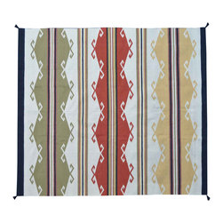 Area Rug, Flat Weave 5'X7' Multicolored Southwest Design Hand Woven Rug SH11576 - Soumaks & Kilims are prominent Flat Woven Rugs.  Flat Woven Rugs are made by weaving wool onto a foundation of cotton warps on the loom.  The unique trait about these thin rugs is that they're reversible.  Pillows and Blankets can be made from Soumas & Kilims.