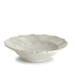 Arte Italica - Merletto Antique Serving Bowl - Serve up a healthy dose of vintage style with this beautifully detailed bowl. It's perfect for serving everything from your favorite side dish to pasta and salad. Each is handmade in Italy for unique character, and slight variations in color and size are to be expected and celebrated.
