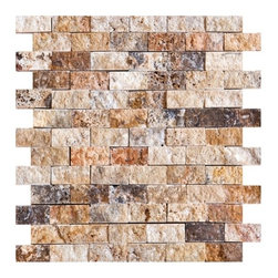 Scabos Split Face Travertine Tiles - Our new 1 in. x 2 in. Scabos Split Face Travertine Tiles have a highly dense texture with decorative contrast markings of rich yellow, black, turquoise and unique burgundy colors on a wavy beige background. This raw material is especially suited for brushed and distressed edge multi-size pattern sets, pavers and tumbled tiles & mosaics. Made from the highest quality premium Turkish scabos travertine strictly selected; consistent in color, sizing and finish. Suitable for commercial and residential projects. Interior as well as exterior surface covering applications. Meets your needs at a very low cost.