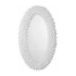Arteriors - Arteriors Home - Spore Mirror - DD9006 - The spore mirror is a faithful reproduction of a 60's original papier-mache and wax piece found in Paris. The juxtaposition of the stark white finish and the organic podlike texture create a bold statement.