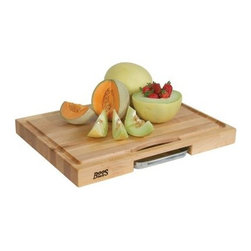 John Boos Newton 24L x 18 in. Maple Reversible Cutting Board with Juice Groove a - You can slice fruit for breakfeast or you can cut your own filets for dinner on the John Boos Newton 24L x 18 in. Maple Reversible Cutting Board with Juice Groove and Pan. The thick body is crafted from hard maple that's given a food-safe finish of paste and beeswax. A deep juice groove is routed around the edge, allowing any liquids and run-offs to drain directly into the pull-out pan of stainless steel. You can use either side, and the durable design makes it perfect for use in the kitchen or out by the grill.About John Boos ProductsLocated in Effingham, Ill., John Boos has become world-renowned for their high-quality kitchen products. Not only is John Boos proud to be featured by numerous celebrity chefs on Food Network programs and others, but they also keep an eye on their environmental footprint. Protecting the environment is an integral part of John Boos' business practice. They're firmly committed to using sustainable resources, recycling byproducts, and maintaining healthy air quality as they manufacture their products. John Boos has been awarded the Gold Medal for Excellence in Foodservice Equipment by the Chefs of America, a prestigious acknowledgement of their commitment to quality.