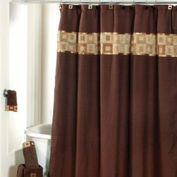 Avanti - Avanti Precision 72-Inch x 72-Inch Shower Curtain - This shower curtain features bold and geometric shapes. This mocha brown shower curtain features a heavy weight fabric in geometric squares in an alternately iridescent and textured design for a rich and stylish contemporary feel.