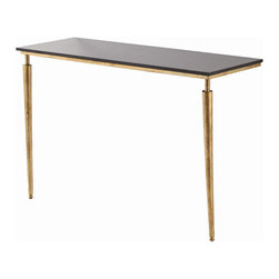 "Arteriors - Arteriors Home - Bailey Console - 2125 - This console Features: antique waxed legs and a rectangular top and stretcher clad in antique zinc, detailed with nailheads. Features: Bailey Collection Console TableGold Leaf FinishBlack Polished Marble Some Assembly Required. Dimensions: W 49"" x D 19"" x H 33 1/2"""