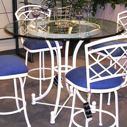 Tempo Industries - Bradley Pub Table w Round Glass Top (Standard - Finish: Standard Finish - AztecIntricately detailed with elegant lines, this metal and glass top pub table gets its inspiration from classic traditional designs.  The thick, 42-inch round glass top is presented on the hour glass shaped base, hand-crafted in durable metal.  Enjoy popular fabric and metal finish choices! * Designed for in home or commercial use. Made in USA. Some Assembly Required. 36 in. Round Glass Top