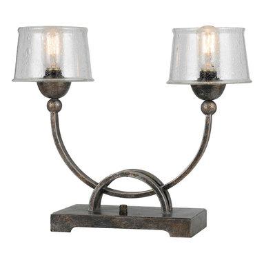 CAL Lighting - Cal Lighting BO-3542TB 60W X 2 Mancelona Iron Table Lamp With Glass Shade - CAL Lighting BO-3542TB 60W X 2 Mancelona iron table lamp with glass shade