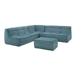 Align 4-Piece Upholstered Sectional Sofa Set - There are sectional sets that claim to be modern by portraying some enlightened path forward. But for every one of these efforts, is an equal and opposite reaction. The more we use our own guile to paddle forward, the more the stream of present reality seems to rush against us. Align was designed as an attempt to wash away those hindrances that obstruct growth. If there had been a choice, the designers would have kept Align just that. But while a sectional sofa set needs to be made curved, the intent was to stay true to the original concept. Align comes generously padded and upholstered in fine fabric, with slight button tufting and trim for only the gentlest effect.
