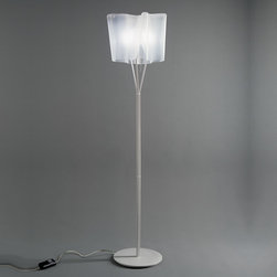Artemide - Logico Floor Lamp - Logico floor features hand blown venetian glass with satined finish. Diffuser supporting frame/stem in die-cast aluminum, pale grey painted finish. Base in steel, pale grey lacquered finish. Touch sensitive dimmer control rod in diffuser frame. Incandescent lamps not included. Diffused light distribution. UL listed. Made in Italy.