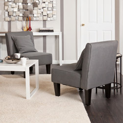 Holly & Martin - Holly & Martin Purban Cool Gray Slipper Chairs (Set of 2) - Slip into something a little more comfortable with this pair of perfect Purban Slipper Chairs. Their armless design and matching pillows make these chairs a seamless addition to rooms both formal and informal.