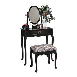 Adarn Inc. - Queen Anne Style Vanity Set Bathroom Makeup Table Stool Swivel Mirror, Dark Cher - This listing is for a Queen Anne Style Oak / Cherry Make Up Vanity Set. This sophisticated vanity set will be a wonderful addition to your traditional master bedroom or dressing area. A lovely oval swivel mirror is attached, adding light and depth to your room, while helping you get ready for your day. A pretty shaped apron and elegant cabriole legs complete this vanity, all in a warm Oak or dark Cherry finish, accented with an antique style gold tone metal bail handle. The matching stool has the same elegant cabriole legs, and a soft fabric covered seat for a regal look and feel. Add this sophisticated vanity set to your home to create an inviting look that you will truly love.