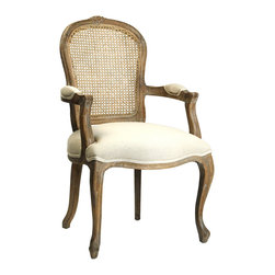 Kathy Kuo Home - Lyon French Country Cane Back Linen Dining Arm Chair - Relaxed sophistication is at the heart of French Country Style, and few styles embody this ideal better than the combination of elegant upholstery, graceful carving, and cane weaving.  This arm chair delivers all three, making it the perfect choice for any space inspired by la vie Provencal.