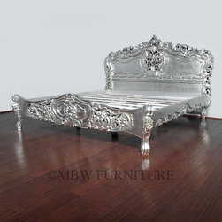 MBW Furniture - Antiqued Silver French Rococo King Bed - This product is finely constructed from top grade kiln-dried Solid Mahogany. Artisans use the old world method of tongue and groove and mortise and tenon joinery to create this beautiful and durable piece of furniture. Its superb hand-crafted quality will add a touch of elegance to your home.