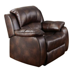 "Acme - Zanthe Brown Polished Microfiber Standard Motion Recliner Chair - Zanthe brown polished microfiber standard motion recliner chair with overstuffed seats and arms. This recliner features a polished microfiber upholstery with a release latch on the side of the recliner, this is a manual recliner you need to push the footrest back to lock it in. Recliner measures 39"" x 38"" x 39""H. Some assembly may be required."