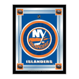"""Holland Bar Stool - Holland Bar Stool New York Islanders Logo Mirror - New York Islanders Logo Mirror belongs to NHL Collection by Holland Bar Stool The perfect way to show your team pride, our logo mirror displays your team's symbols with a style that fits any setting.  With it's simple but elegant design, colors burst through the 1/8"""" thick glass and are highlighted by the mirrored accents.  Framed with a black, 1 1/4 wrapped wood frame with saw tooth hangers, this 17""""(W) x 22""""(H) mirror is ideal for your office, garage, or any room of the house.  Whether purchasing as a gift for a recent grad, sports superfan, or for yourself, you can take satisfaction knowing you're buying a mirror that is proudly Made in the USA by Holland Bar Stool Company, Holland, MI.   Mirror (1)"""
