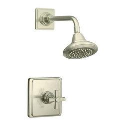 KOHLER - KOHLER K-T13134-3A-BN Pinstripe Pure Rite-Temp Pressure-Balancing Shower Faucet - KOHLER K-T13134-3A-BN Pinstripe Pure Rite-Temp Pressure-Balancing Shower Faucet Trim with Cross Handle in Brushed Nickel