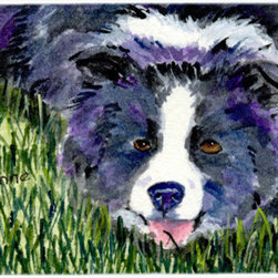 Caroline's Treasures - Border Collie Kitchen Or Bath Mat 24X36 - Kitchen or Bath Comfort Floor Mat This mat is 24 inch by 36 inch.  Comfort Mat / Carpet / Rug that is Made and Printed in the USA. A foam cushion is attached to the bottom of the mat for comfort when standing. The mat has been permenantly dyed for moderate traffic. Durable and fade resistant. The back of the mat is rubber backed to keep the mat from slipping on a smooth floor. Use pressure and water from garden hose or power washer to clean the mat.  Vacuuming only with the hard wood floor setting, as to not pull up the knap of the felt.   Avoid soap or cleaner that produces suds when cleaning.  It will be difficult to get the suds out of the mat.