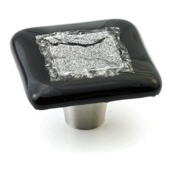 "Windborne Studios - Stratum Foil Glass Knobs and Pulls, Black Current, 1.5"" Square - The ""Stratum Foil Collection"" is made with layering textures fused inside the glass creating a framed piece of art."