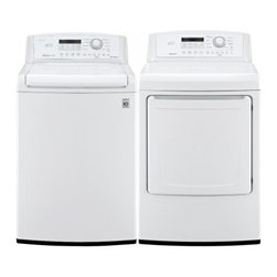 """LG - WT4870CWDLE4870WPAIR Two Piece Washer/Dryer Set  27"""" 4.5 cu. ft. Capacity Top Lo - The Smart Rinse jet spray system of the LG Electronics 45 cu ft High-Efficiency Top Load Washer provides thorough effective washing performance while using water efficiently to help you save time and money Use the washer39s intuitive electronic contr..."""