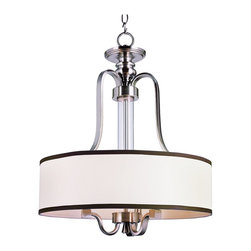 Trans Globe Lighting - Trans Globe Lighting Modern Meets Traditional Pendant Light X-NB 4797 - Traditional meets chic with this Traditional Pendant light from Trans Globe. The beige shade has a black border to provide excellent contrast. The shade is held by rods finished in Brushed Nickel. This pendant is sure to make your home a chic space.