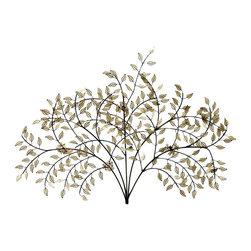 Paragon Decor - Evening Shade - Golden filigree leaves dance on metallic branches.