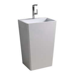 Matte White Pedestal Stone Resin Sink