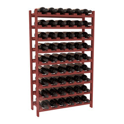 Wine Racks America - 54 Bottle Stackable Wine Rack in Ponderosa Pine, Cherry Stain - Three times the capacity at a fraction of the price for the 18 Bottle Stackable. Wooden dowels enable easy expansion for the most novice of DIY hobbyists. Stack them as high as you like or use them on a counter. Just because we bundle them doesn't mean you have to as well!
