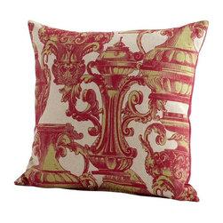 Cyan Design - Urn Your Keep Pillow - Pink pillow with printed design.