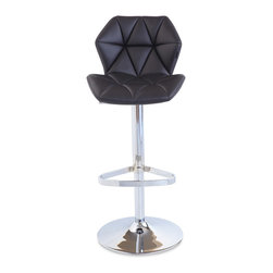 Zuri Furniture - Black Prism Swivel Armless Bar Stool - Style and comfort were in mind with the Prism bar stool. It's unique diamond pattern and shape will add pizzazz to your bar or kitchen!