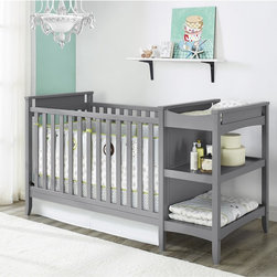 dorel asia - Baby Relax Emma Crib and Changing Table Combo - The simple,clean lines of this unique crib are beautifully offset by the light wood finish. The raised crib side panels add visual interest,and the beautiful grey finish allows you to coordinate with multiple bedding and decor options.